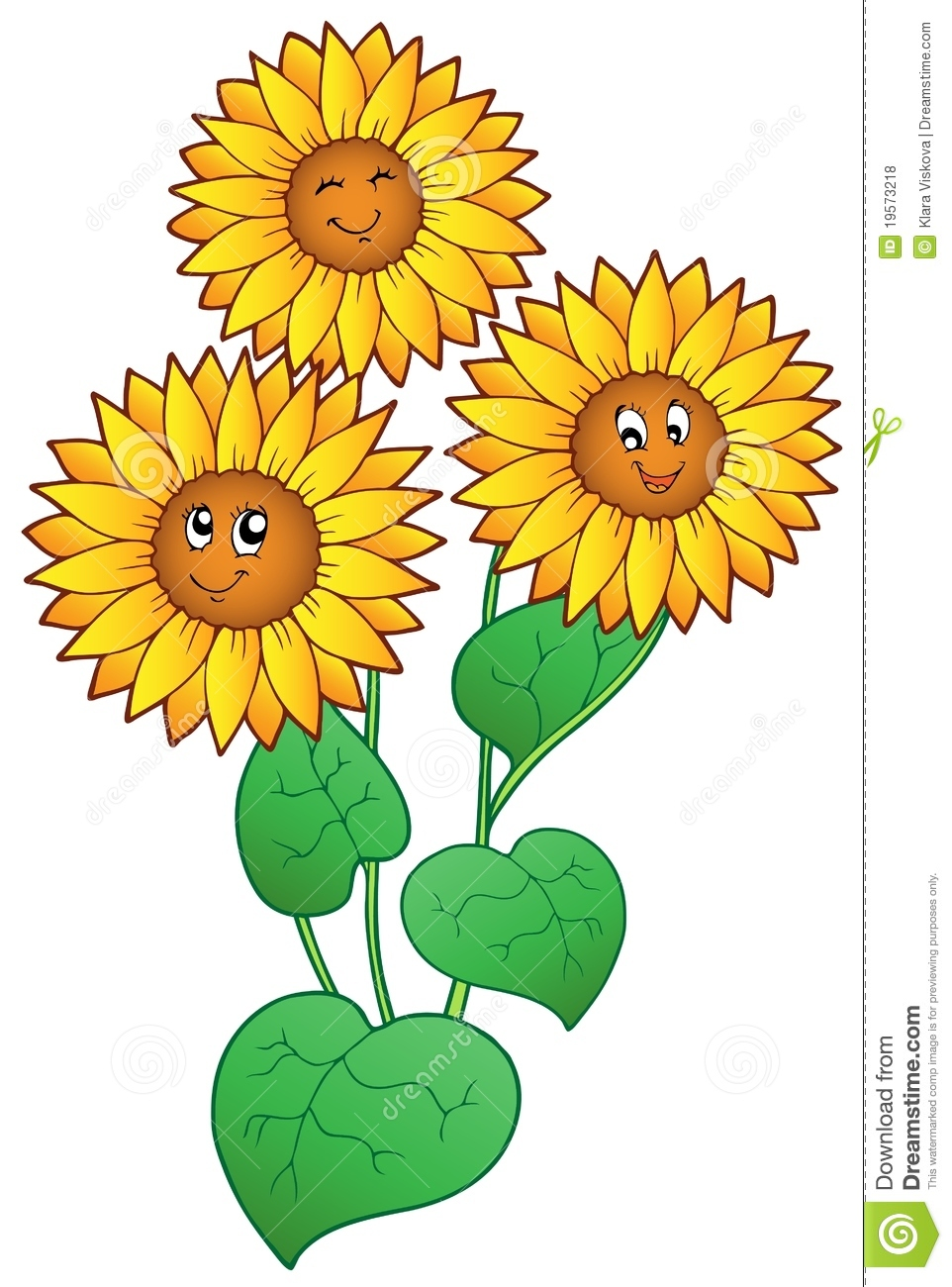 Three cute sunflowers stock vector. Illustration of growth ...