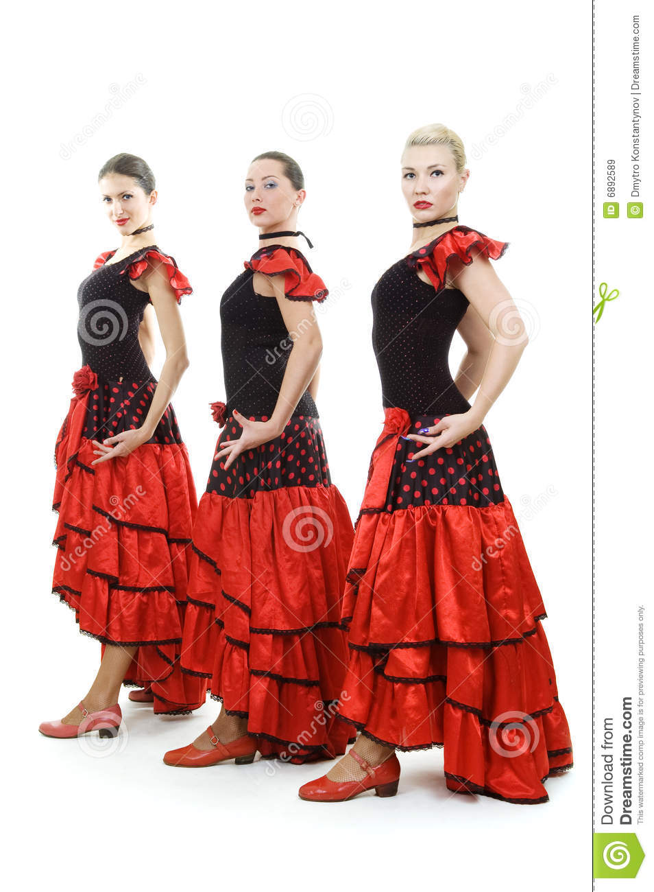 Three Dancers In National Spanish Costumes Royalty Free