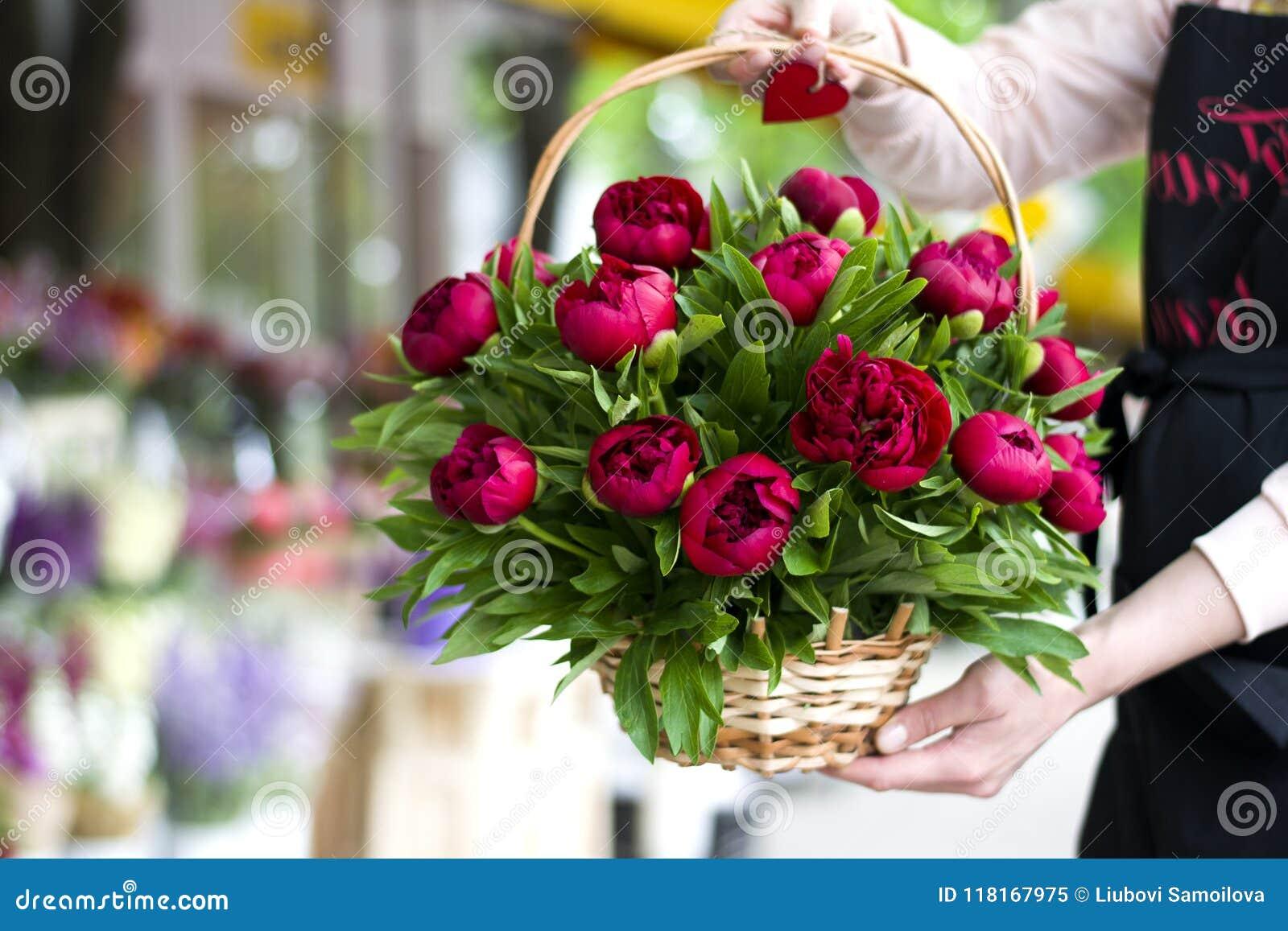 Three Dark Pink Peonies Flowers In A Vase Indoors Spring Flowers
