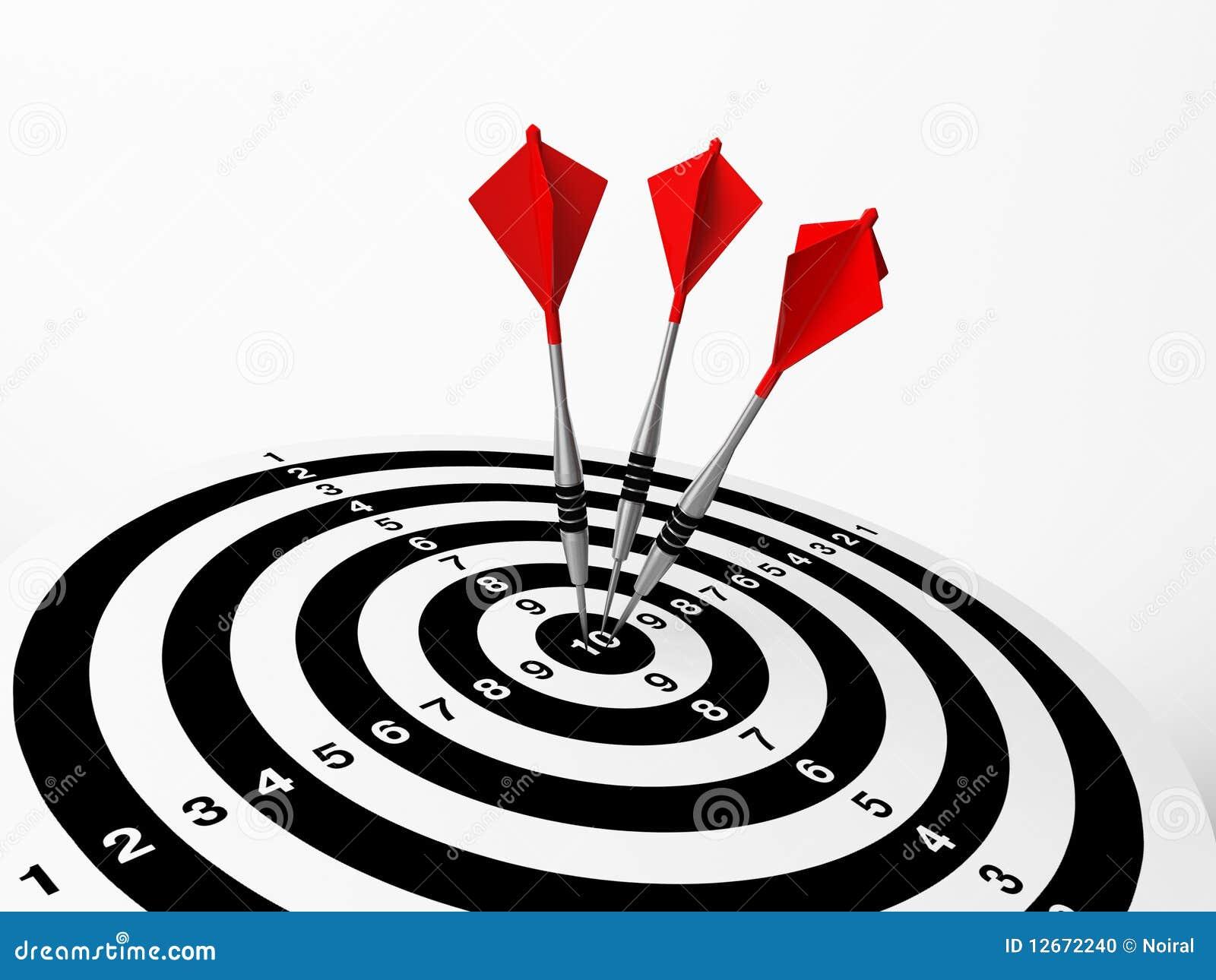 Three Darts On Bulls Eye Stock Photo Image 12672240