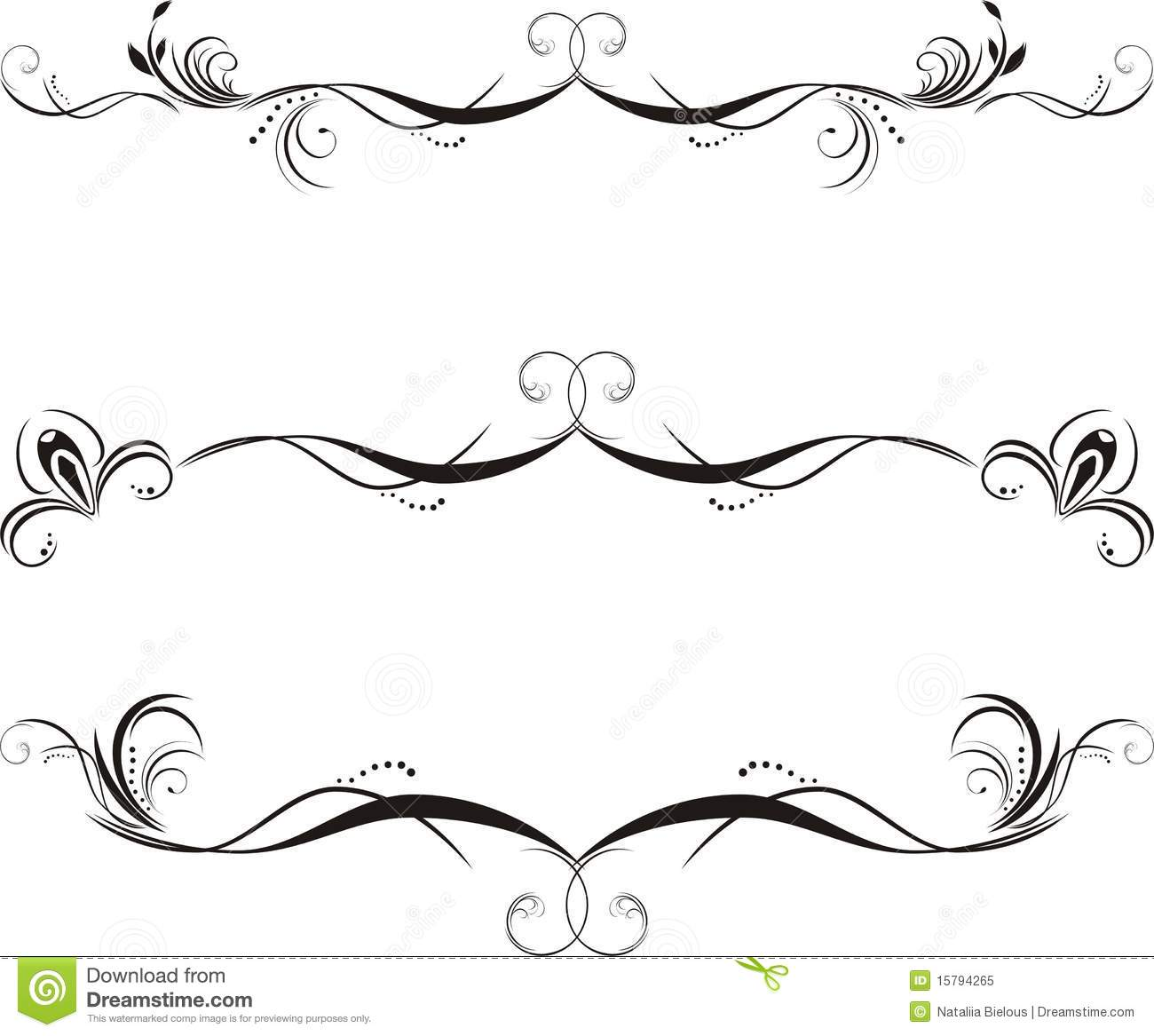 Three decorative floral borders