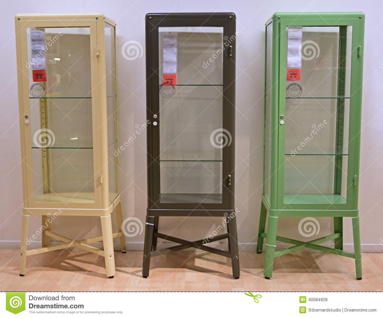 Editorial Stock Photo. Download Three Different Colors Of Display Cabinet  ...