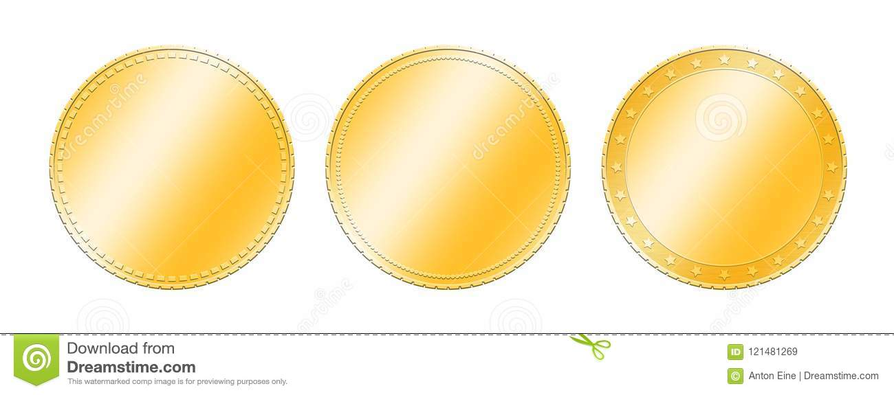 photo about Gold Coin Template Printable named 3 Option Gold Cash More than White Inventory Instance