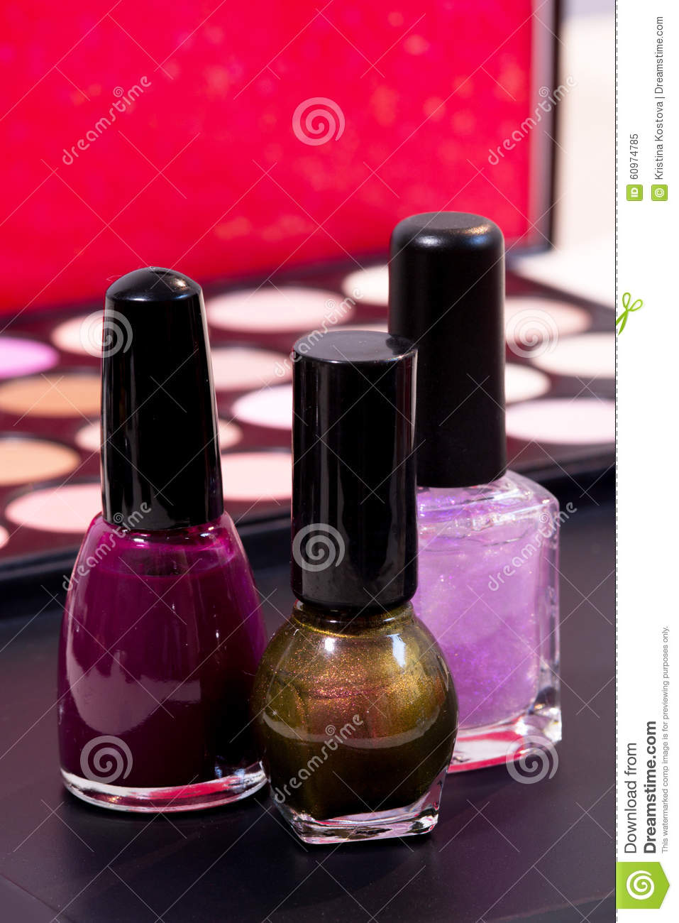 Royalty Free Stock Photo Download Three Different Nail Polish Colors And A Make Up