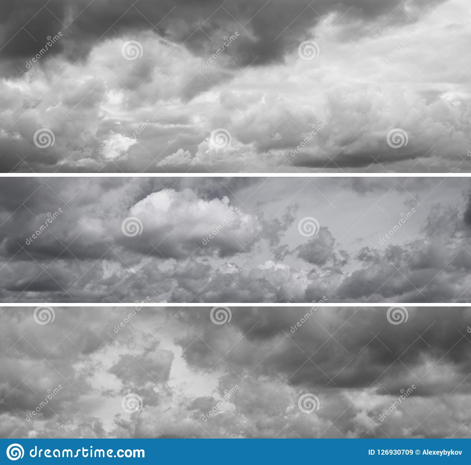 Three different panoramas of cloudy gray sky.