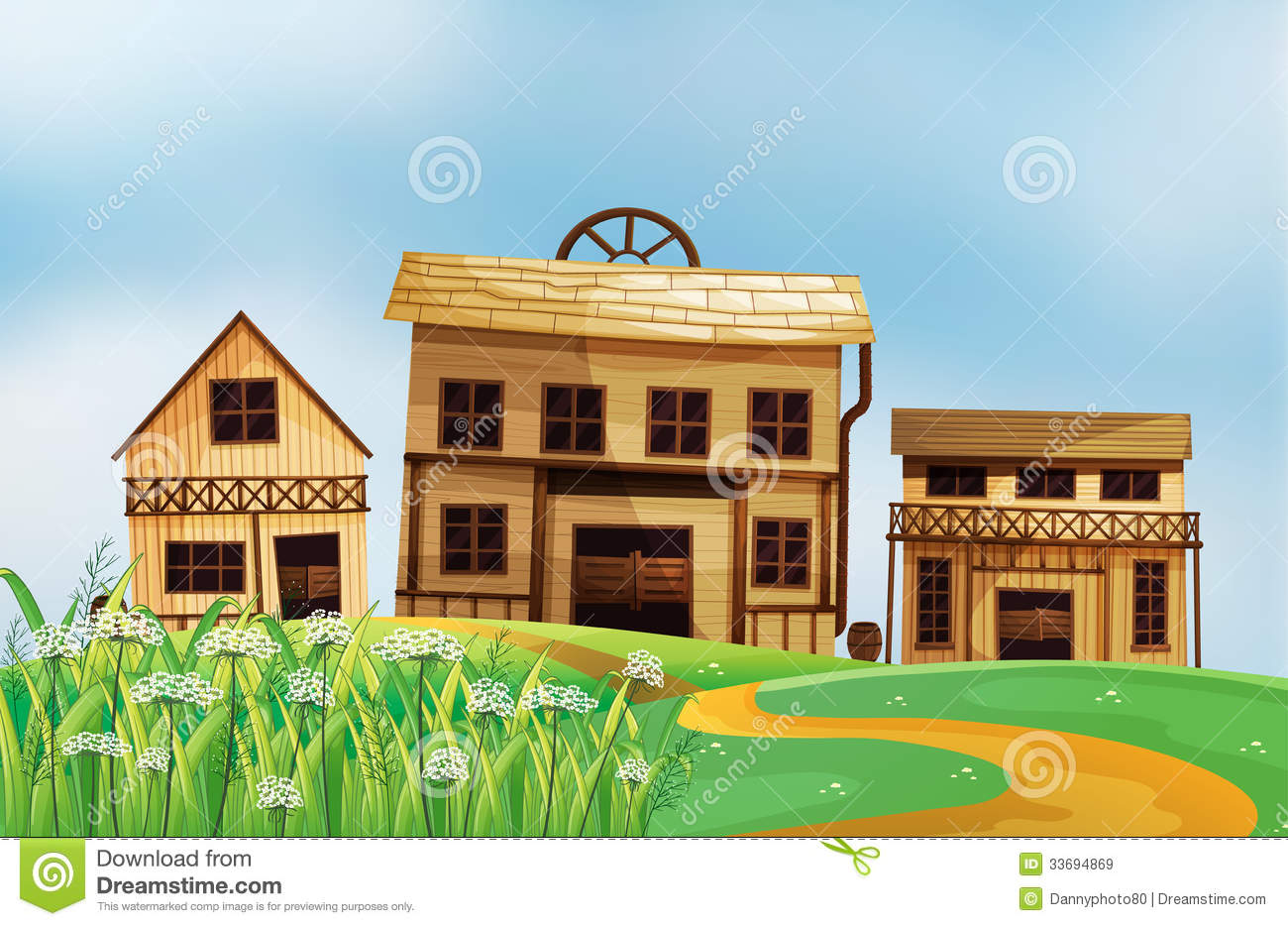 Three different styles of wooden houses royalty free stock for Different styles of houses with pictures