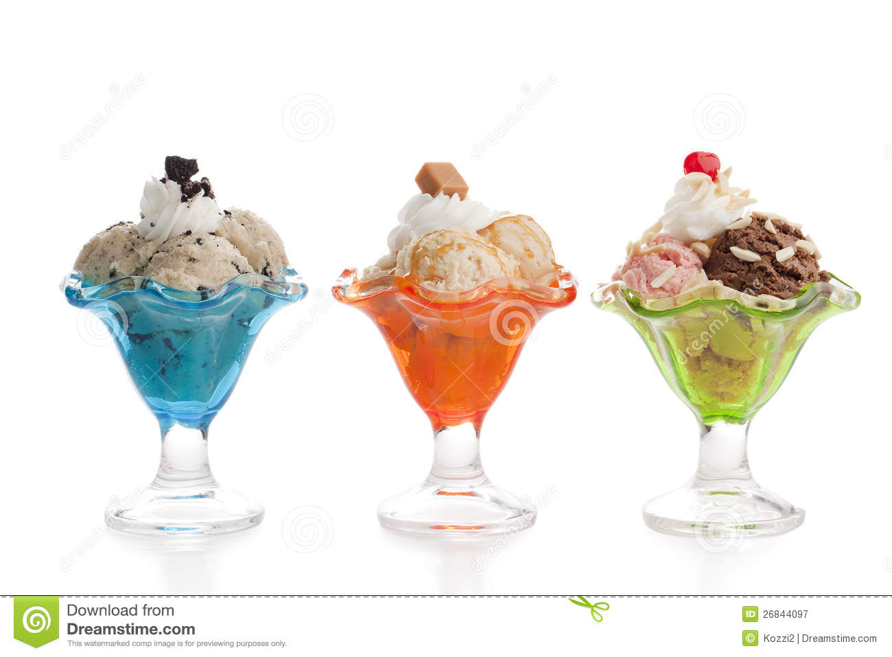 Three different variant of ice creams