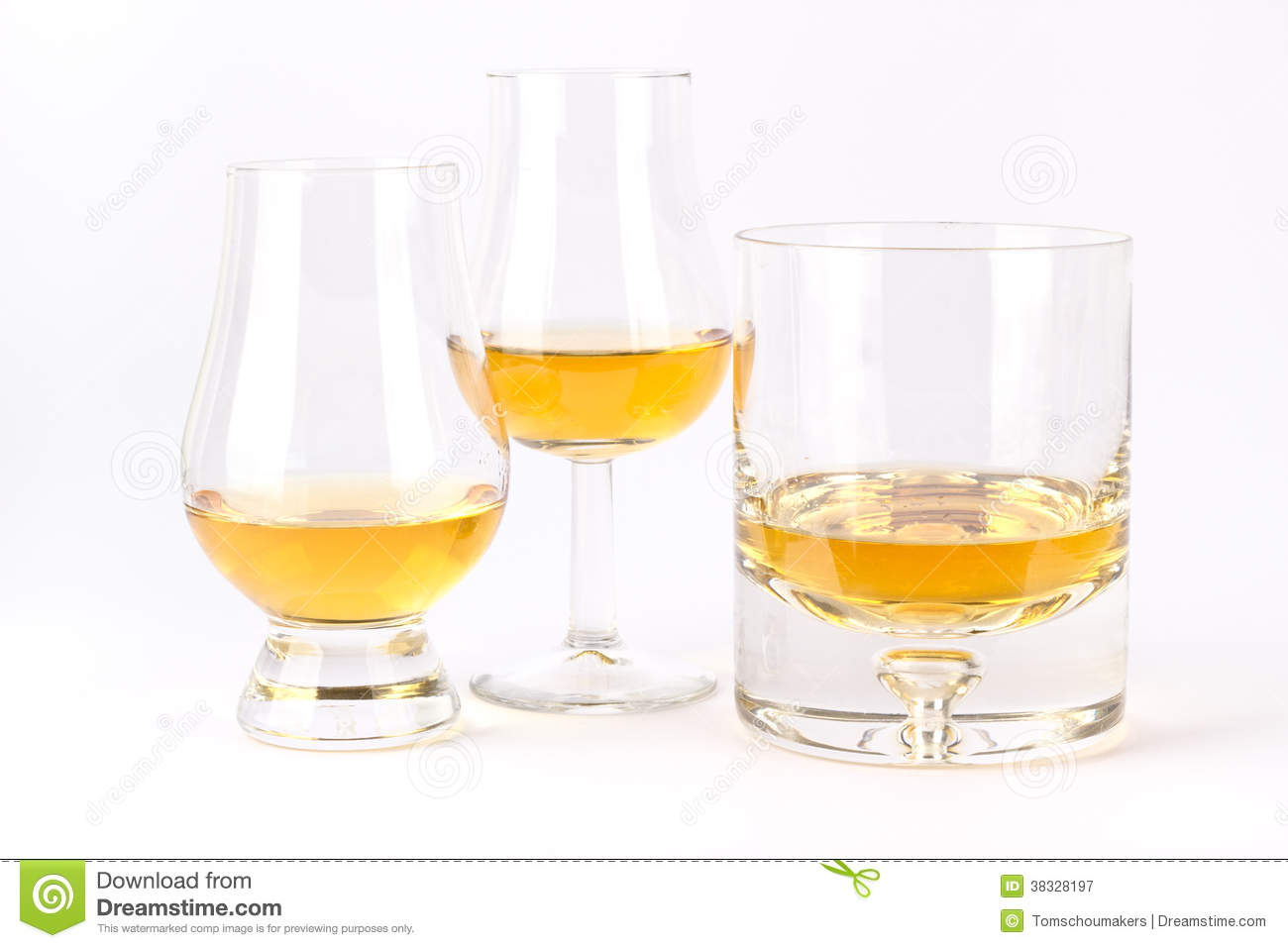 Three different whisky glass