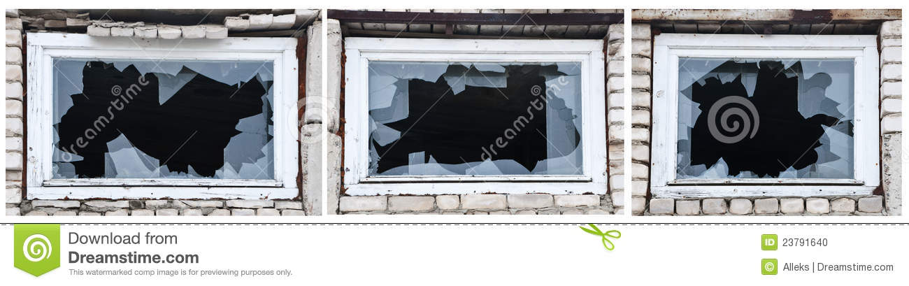 Broken Glasses Frame Dream : Three Different Windows With Broken Glasses. Stock Photo ...