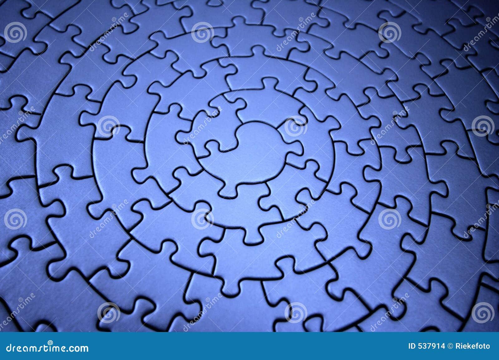 Three-dimensional blue jigsaw