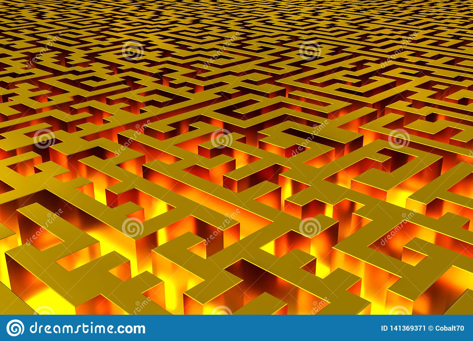 Three-dimensional infinite golden labyrinth illuminated from the inside. Perspective view of the labyrinth