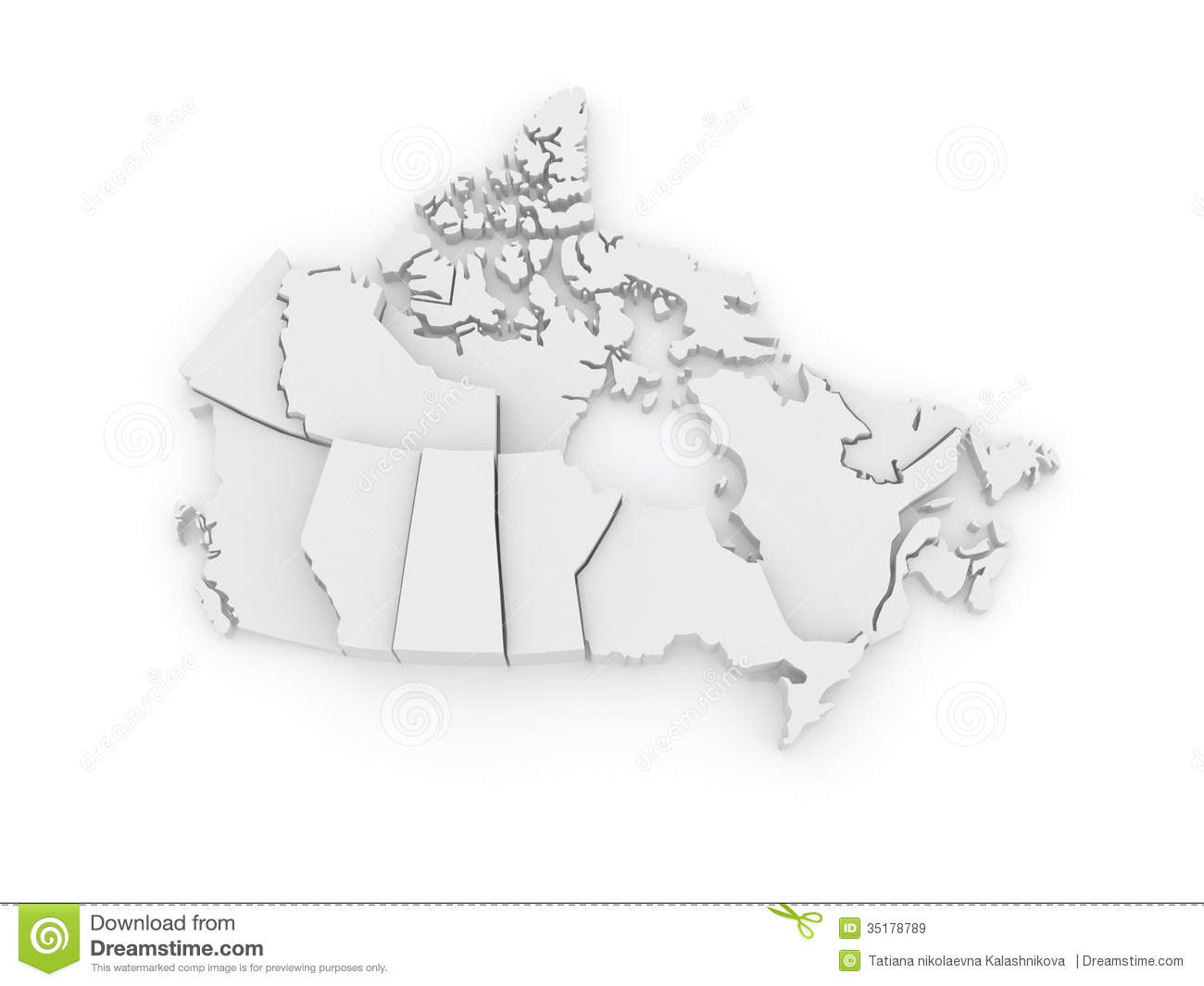 Map Of Canada 3d.Three Dimensional Map Of Canada Stock Illustration