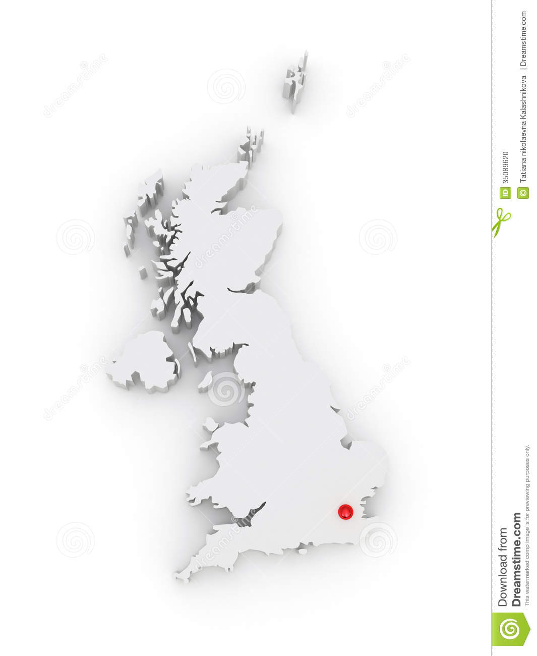3d Map Of England.Three Dimensional Map Of England Stock Illustration Illustration