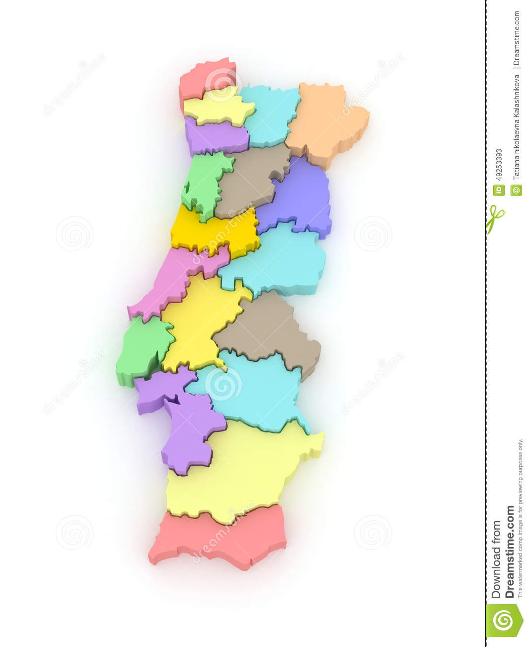 Three Dimensional Map Of Portugal Stock Illustration