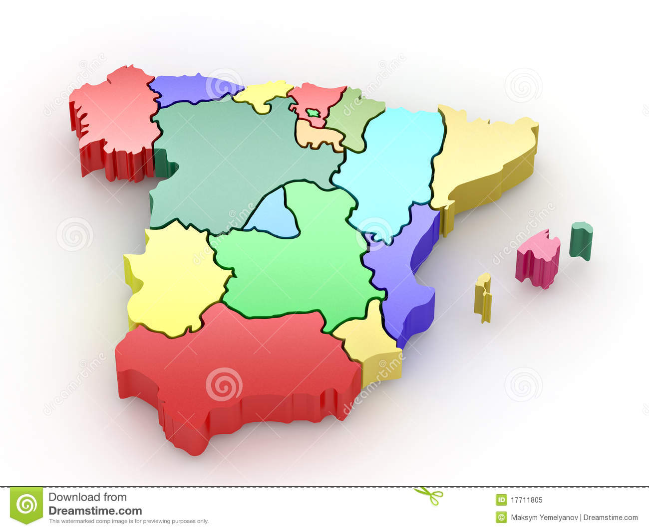 3d Map Of Spain.Three Dimensional Map Of Spain 3d Stock Illustration Illustration