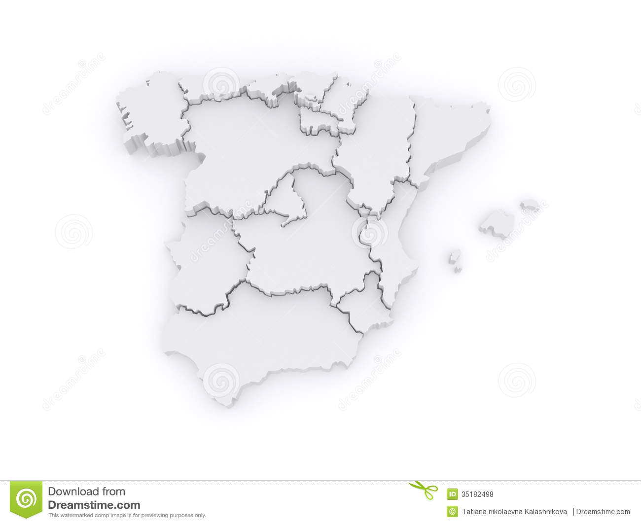 3d Map Of Spain.Three Dimensional Map Of Spain Stock Illustration Illustration Of