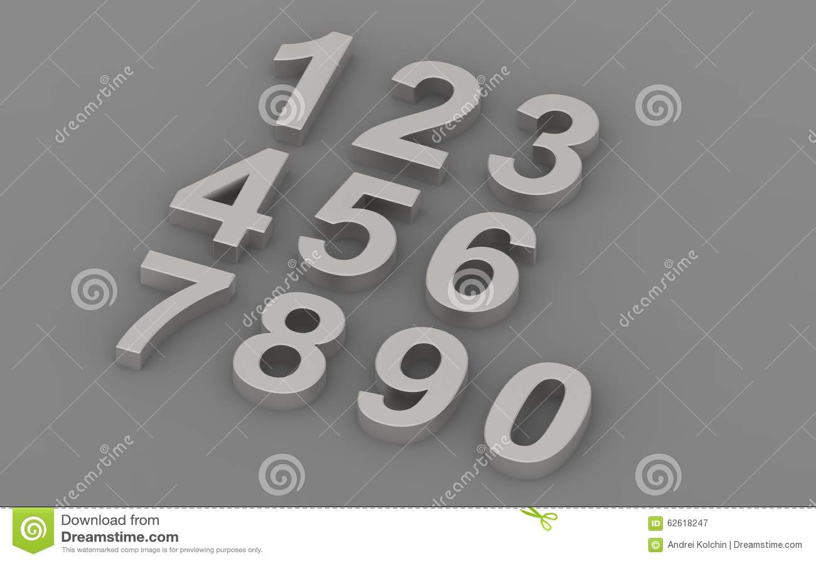 Three Dimensional Numbers Stock Illustration