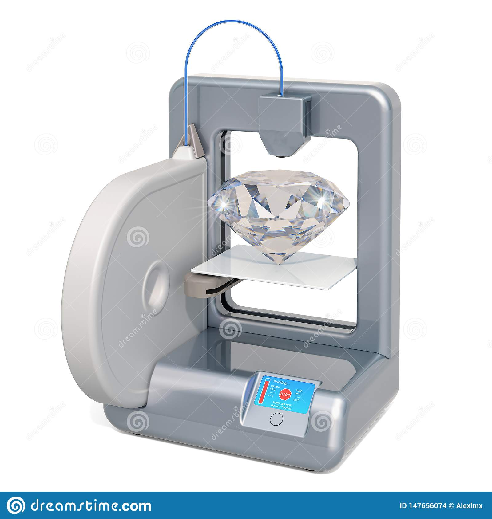 Three dimensional printer with diamond, 3D rendering
