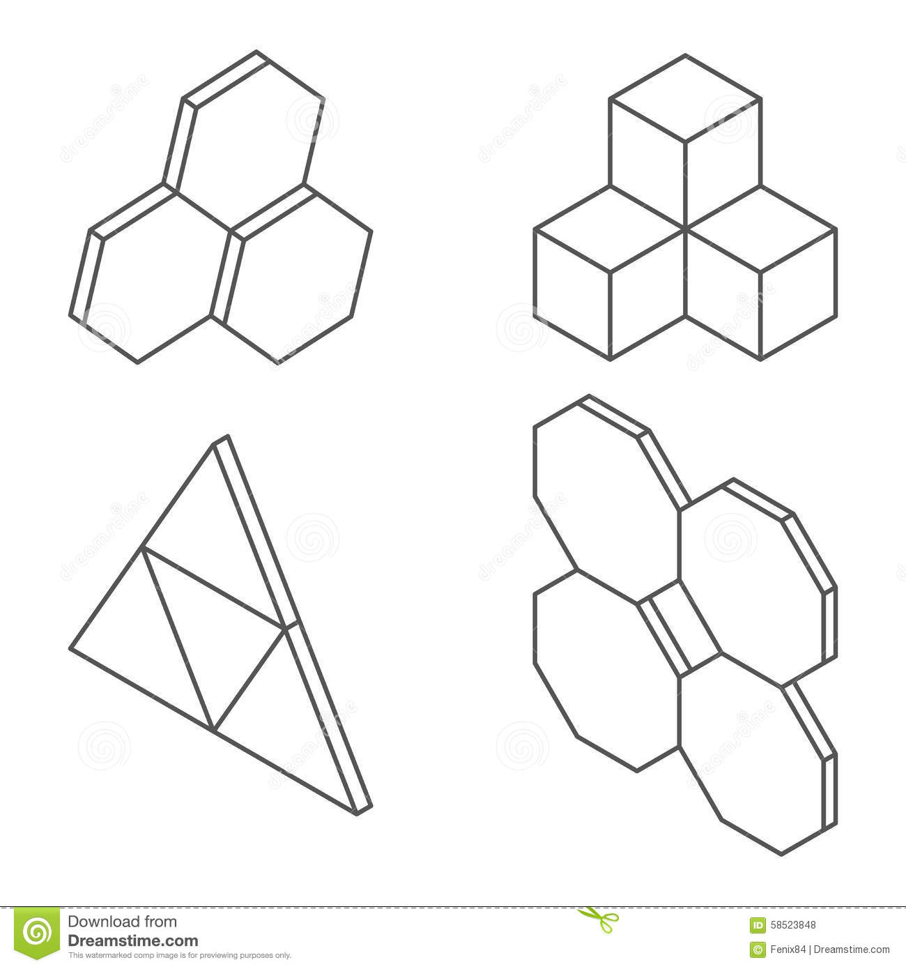 three-dimensional shapes and forms  stock vector