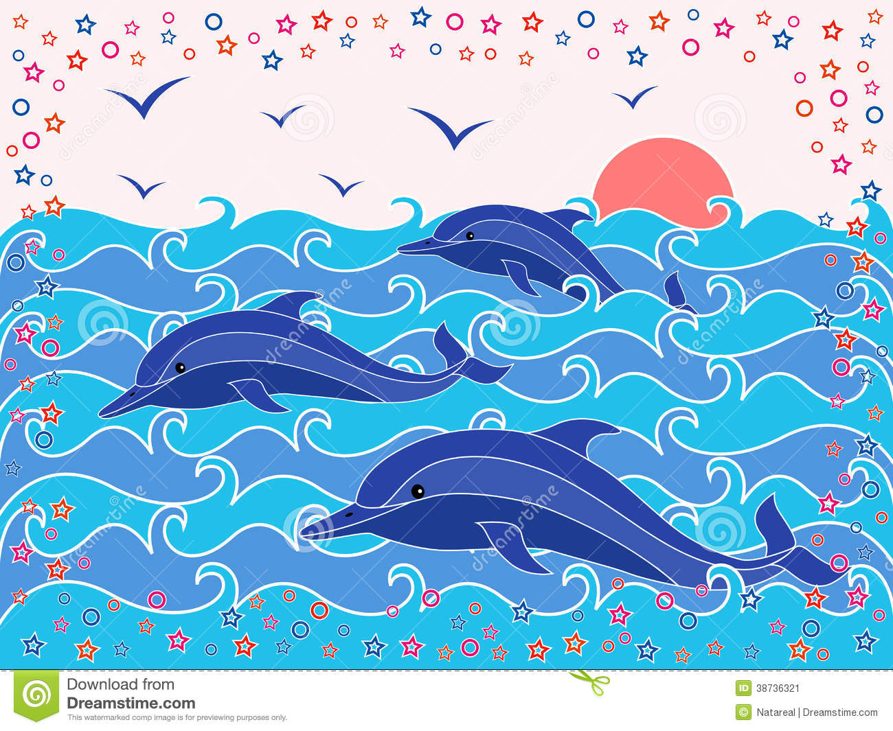Three Dolphins in the sea waves at sunrise, hand drawing vector ...