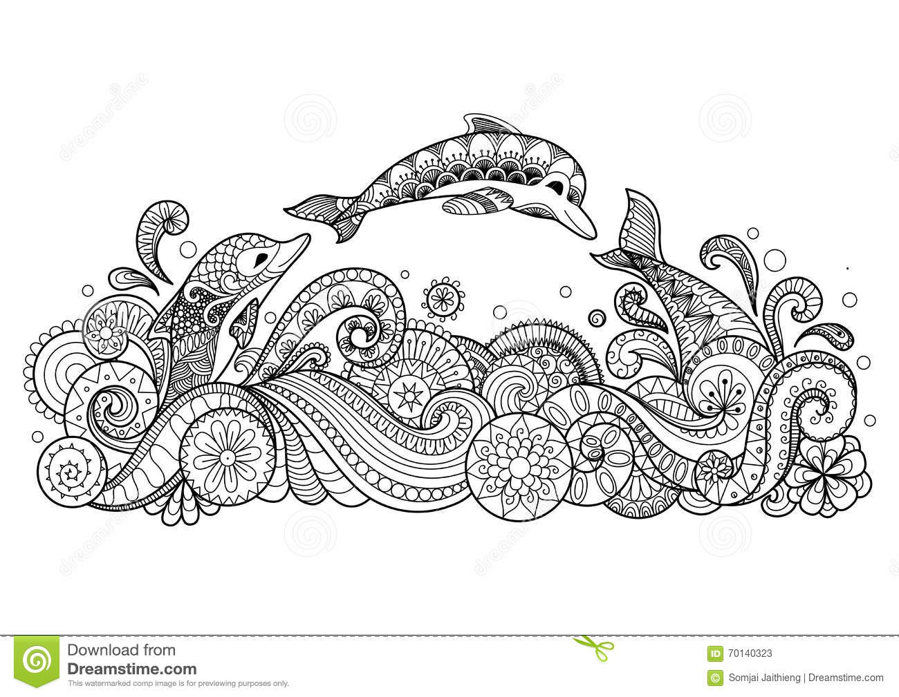 Three Dolphins Swimming Happily Zentangle Style For Coloring Book