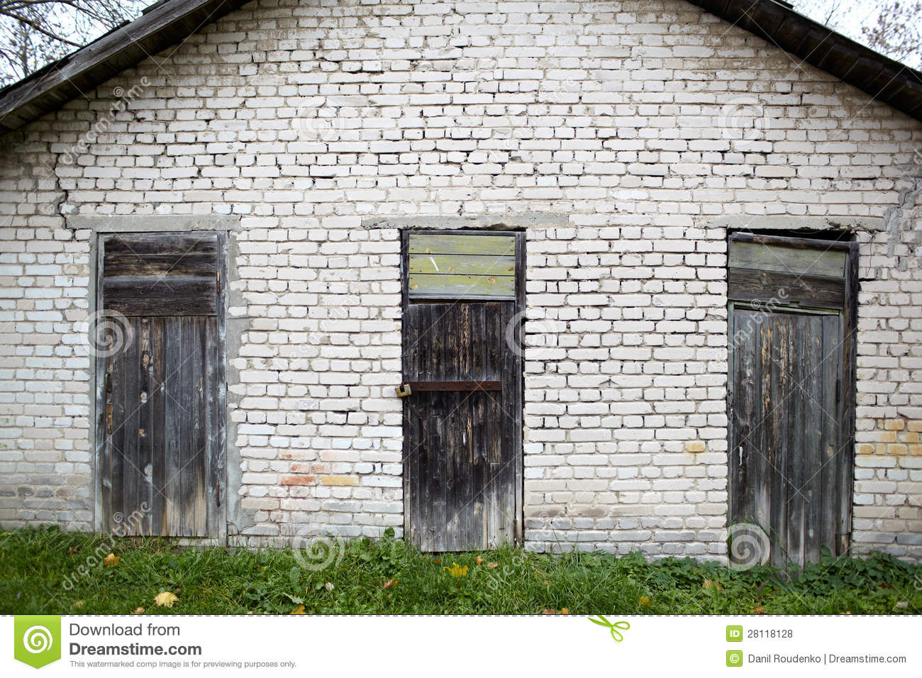 Three Doors In The Old Garage Royalty Free Stock Photos
