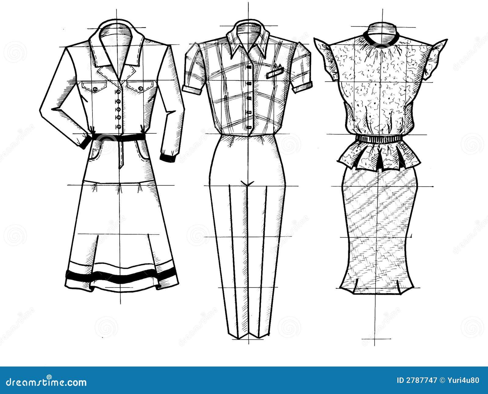 Dress Design Sketch Females Body