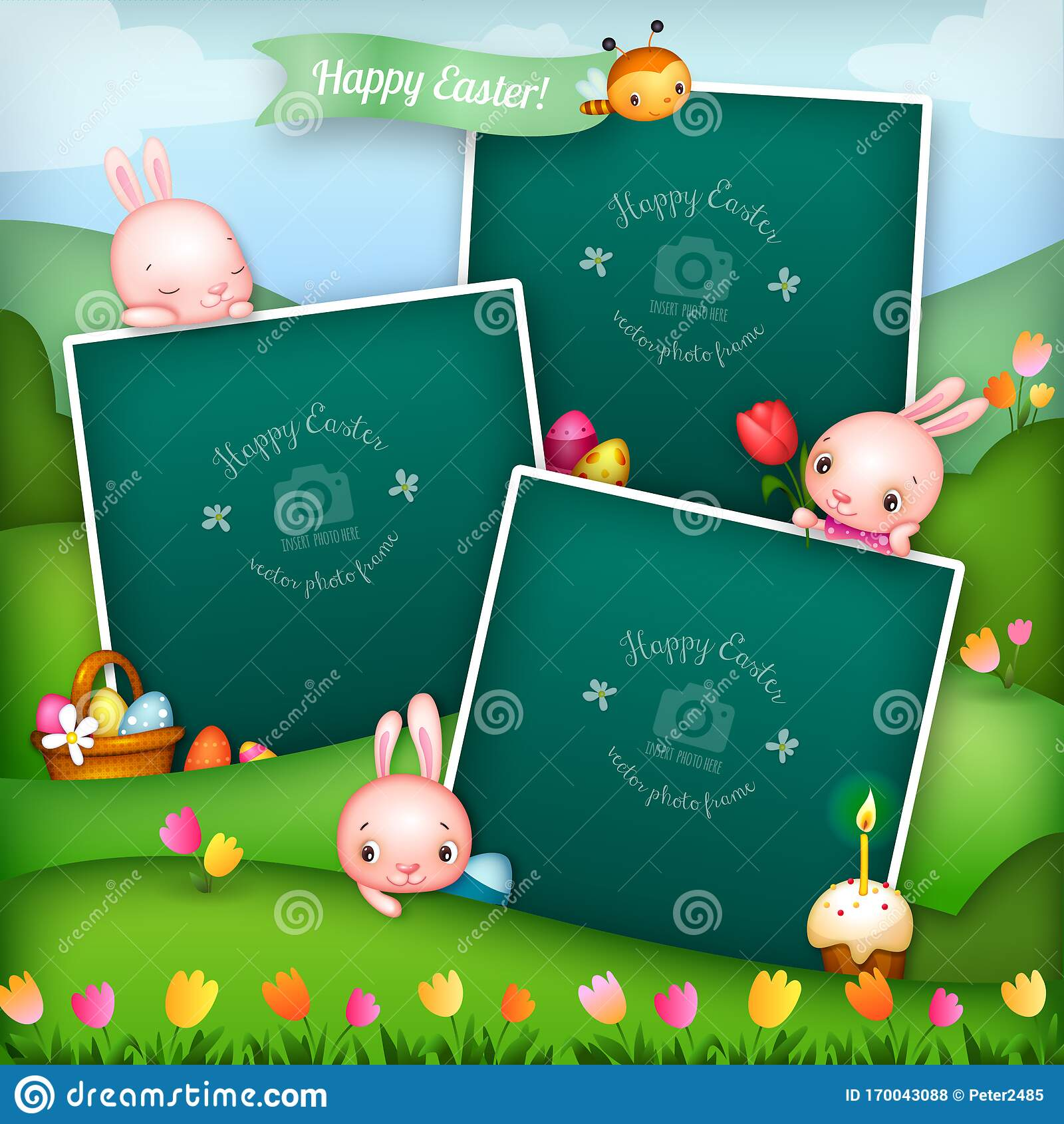 Three Easter Story Photo Frames With Cute Bunny Characters