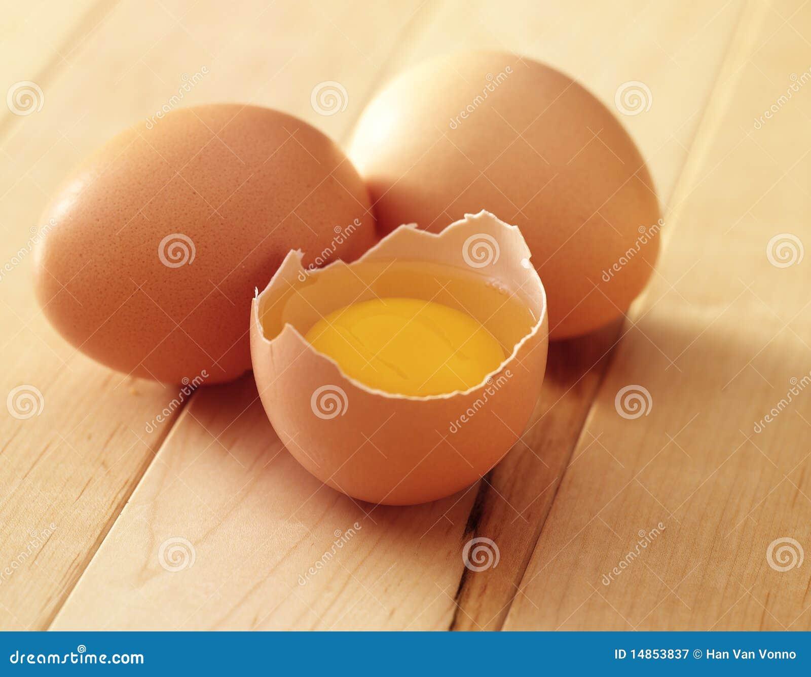 Three eggs one broken