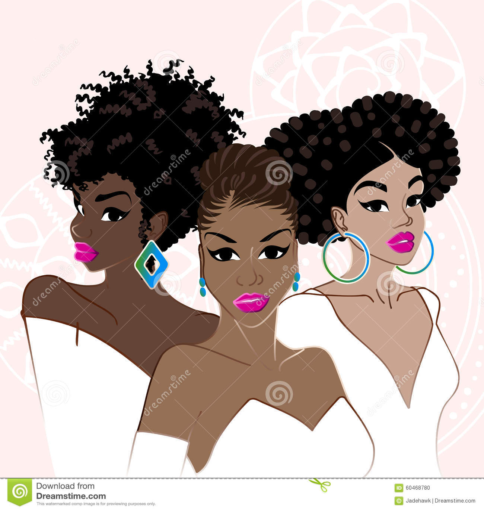 three elegant dark skinned women stock vector   image