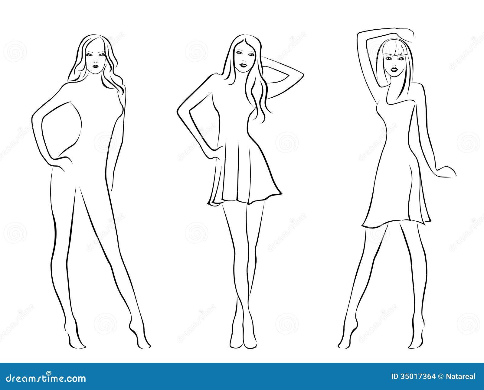 Three Elegant Fashion Models Stock Images Image 35017364