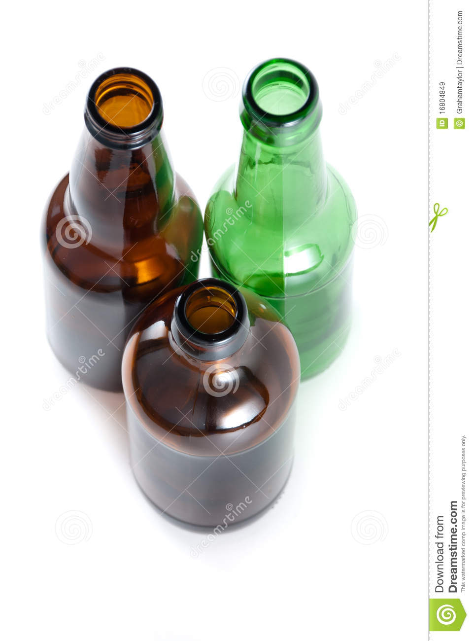 Three Emplty Beer Bottles On Isolated Backround  Stock Image - Image