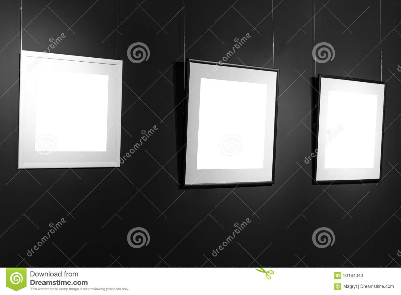 Three Empty Frames On Black Wall Blank Space Posters Or Art Frame