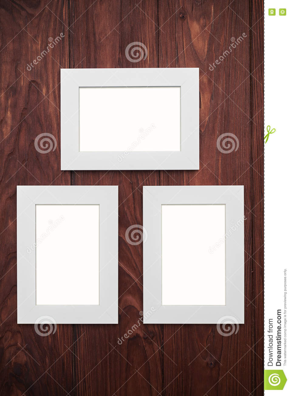 Three Empty Frames On Brown Wooden Desk Stock Illustration