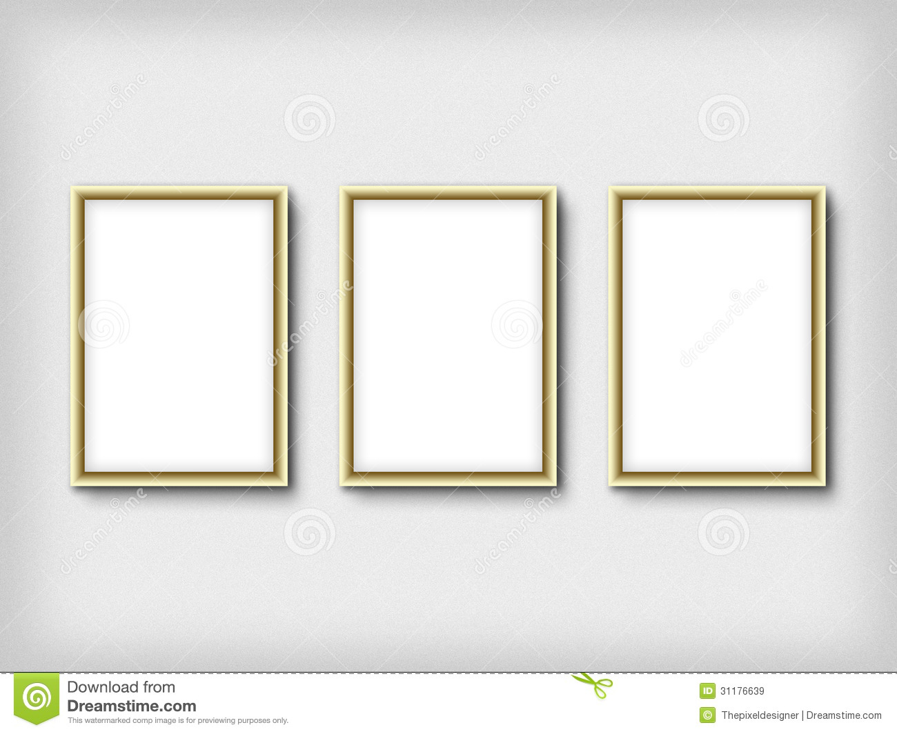 Three Empty Frames On A Wall Royalty Free Stock Images - Image ...: dreamstime.com/royalty-free-stock-images-three-empty-frames-wall...