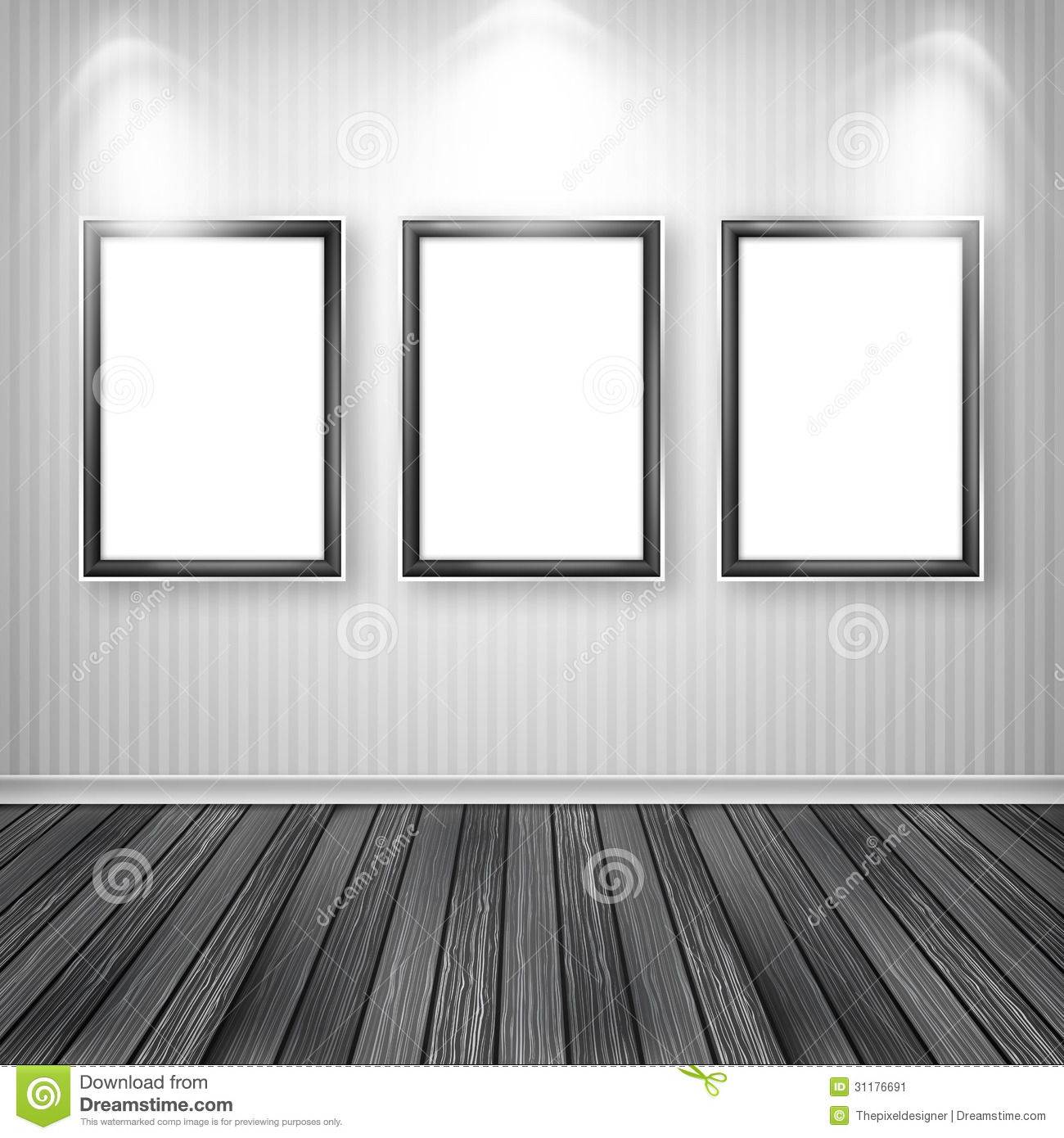 Three Empty Frames On A Wall Stock Image Image 31176691