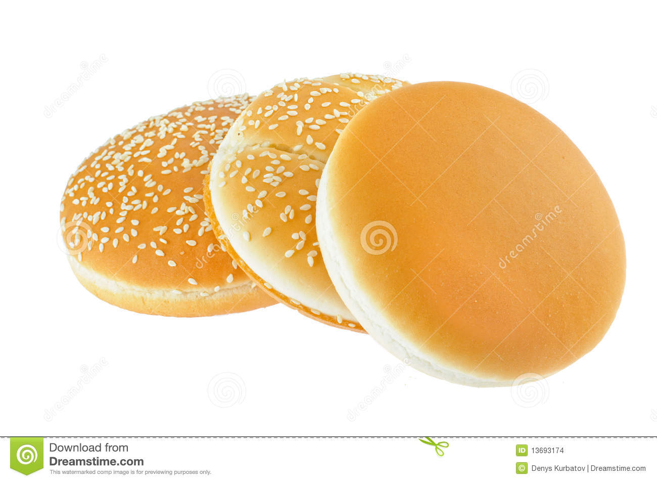 Three Fastfood Buns Stock Images