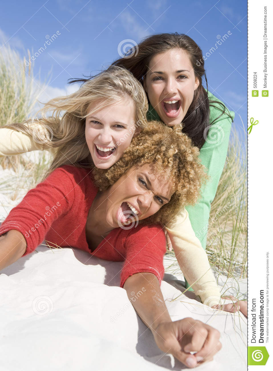 Three Female Friends Having Fun At Beach Stock Images ...
