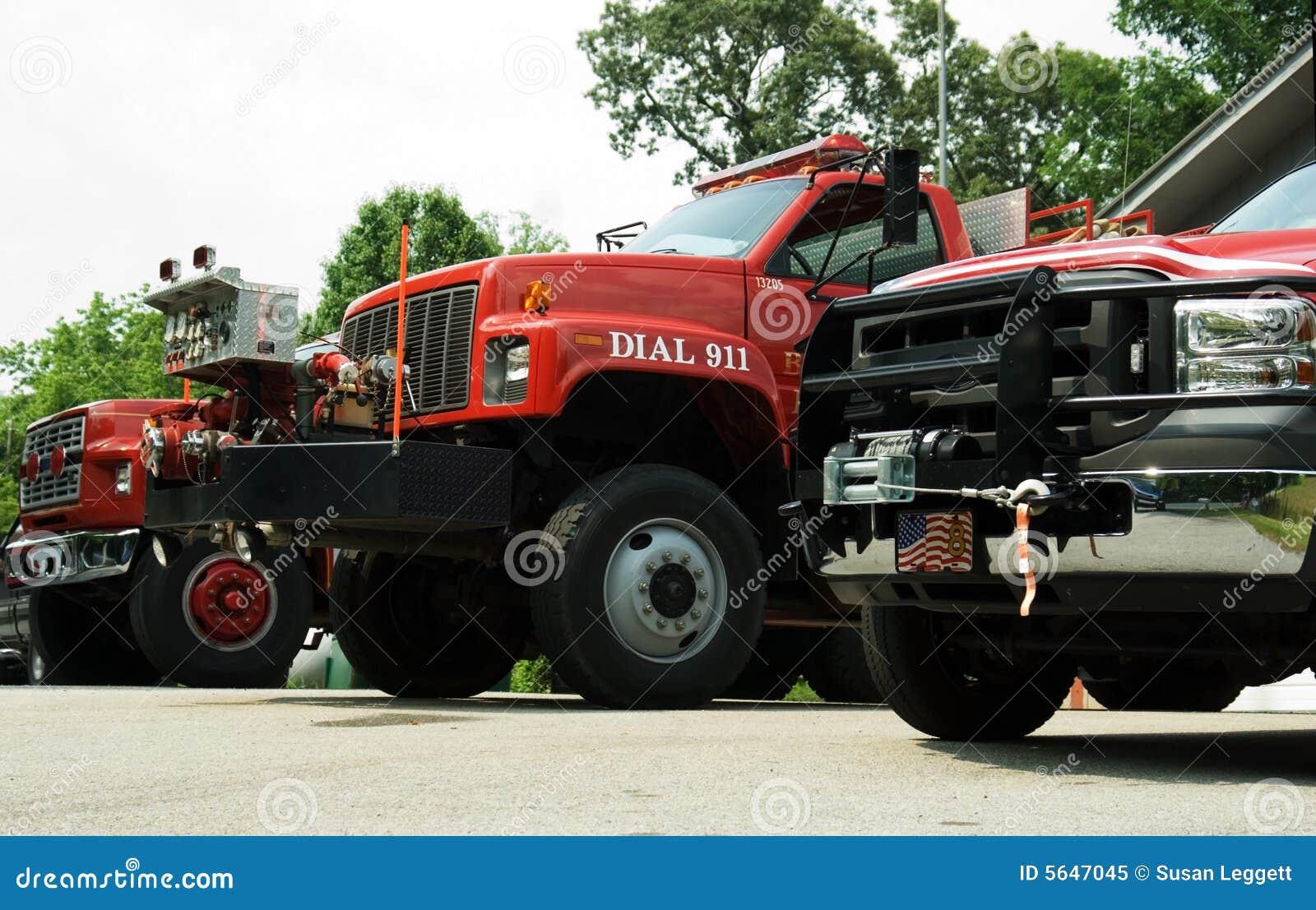 Three Firetrucks Ready to Roll