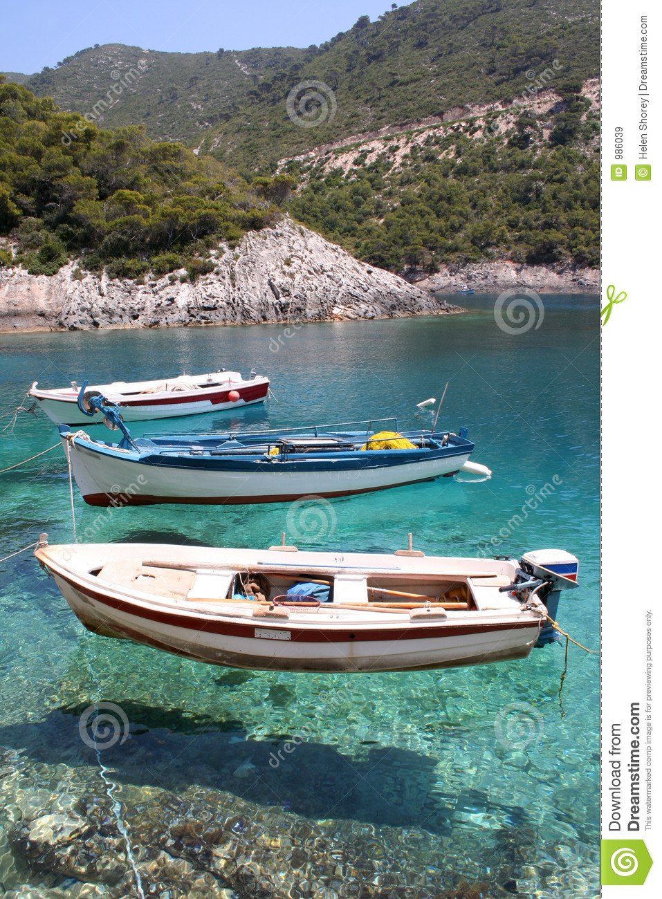 Small fishing boats anchored at porto vromi zante zakynthos
