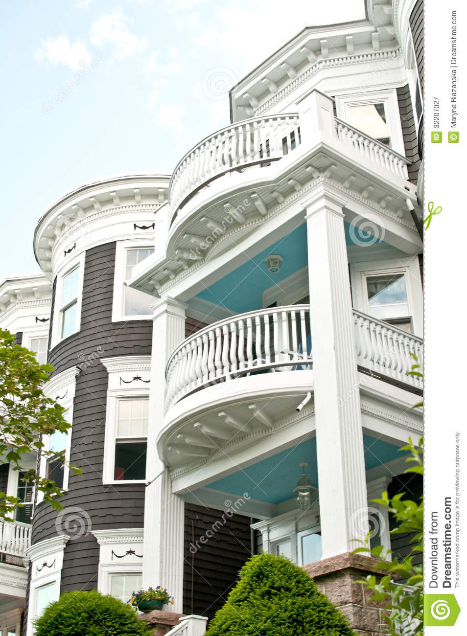Three floor nice houses facades stock image image 32207027 for Level a house