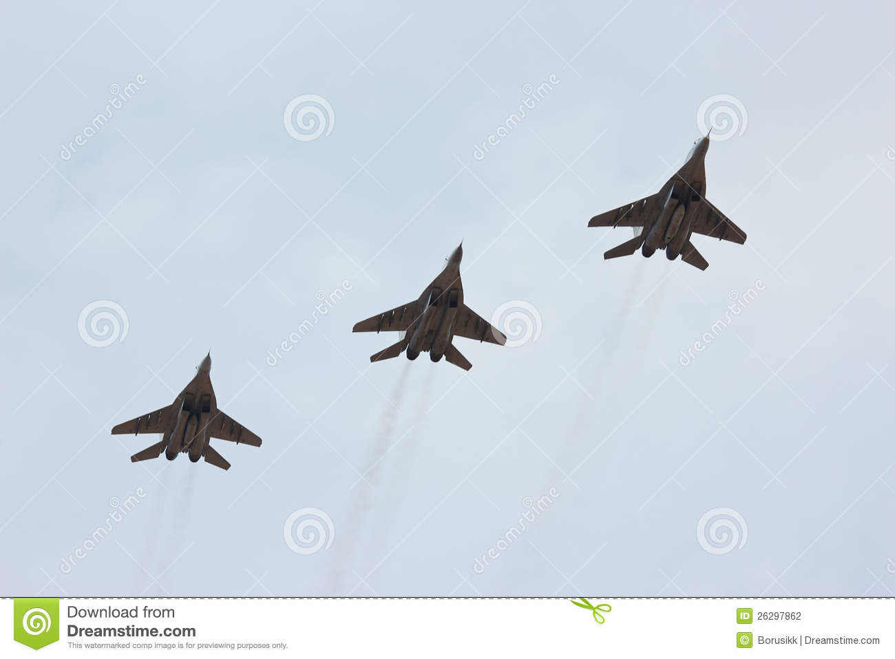 Soviet MiG fighter http://www.dreamstime.com/stock-photography-three-flying-russian-jet-fighter-mig-29-image26297862