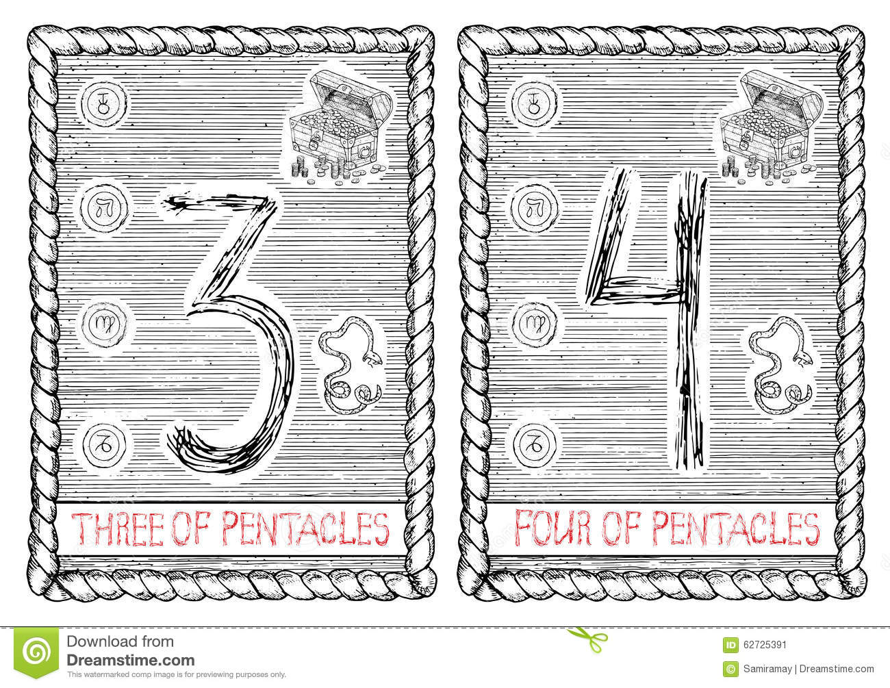 Three And Four Of Pentacles  The Tarot Card  Stock Vector