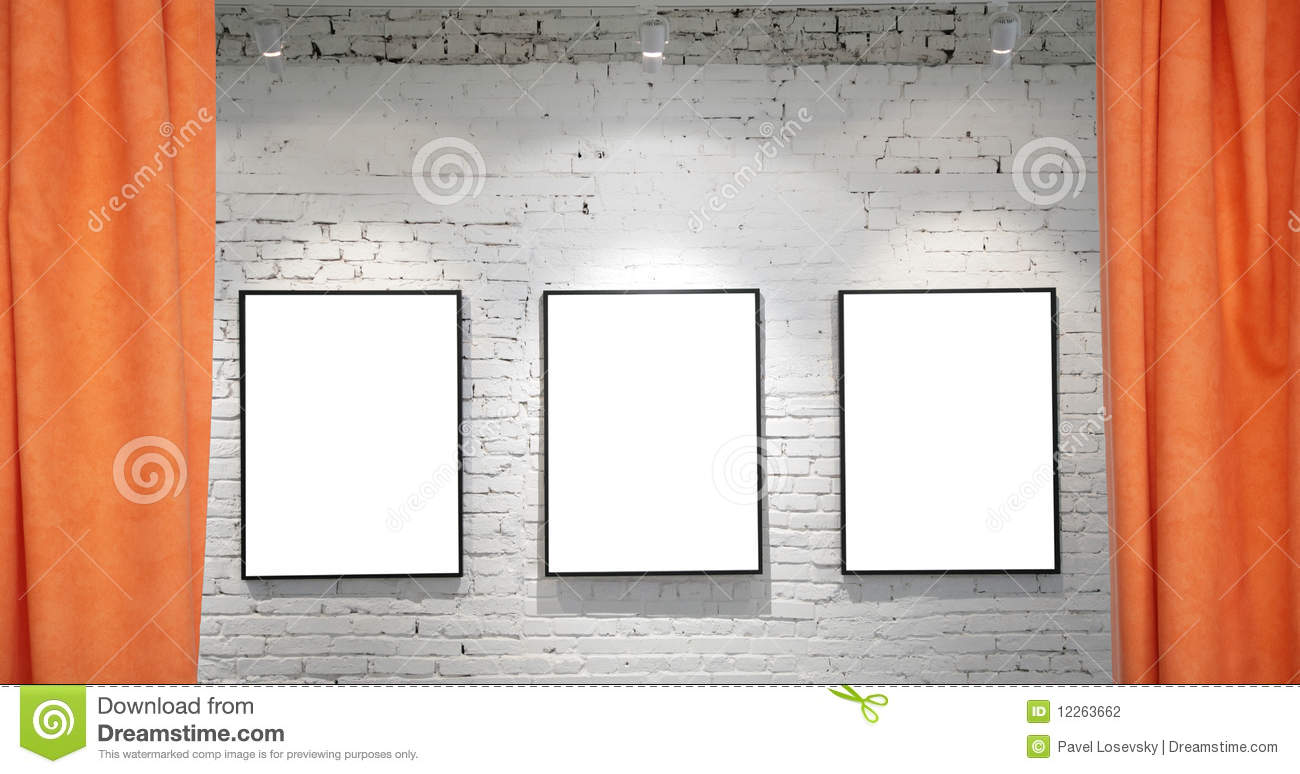 Three Frames On Brick Wall And Draperies Collage Stock Photo - Image ...