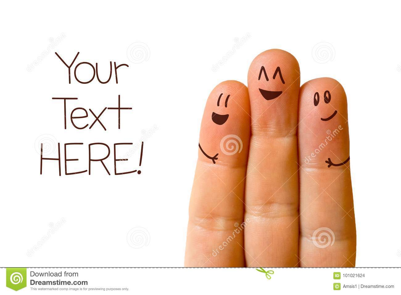 Download Three friends fingers stock photo. Image of concept - 101021624