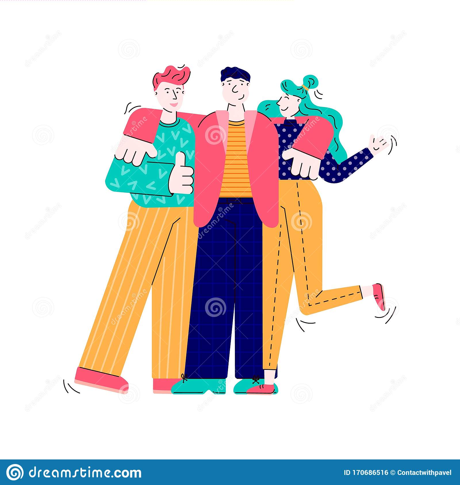 Three Friends Hugging Cartoon People Standing Together Sharing Friend Hug Stock Vector Illustration Of Best Male 170686516