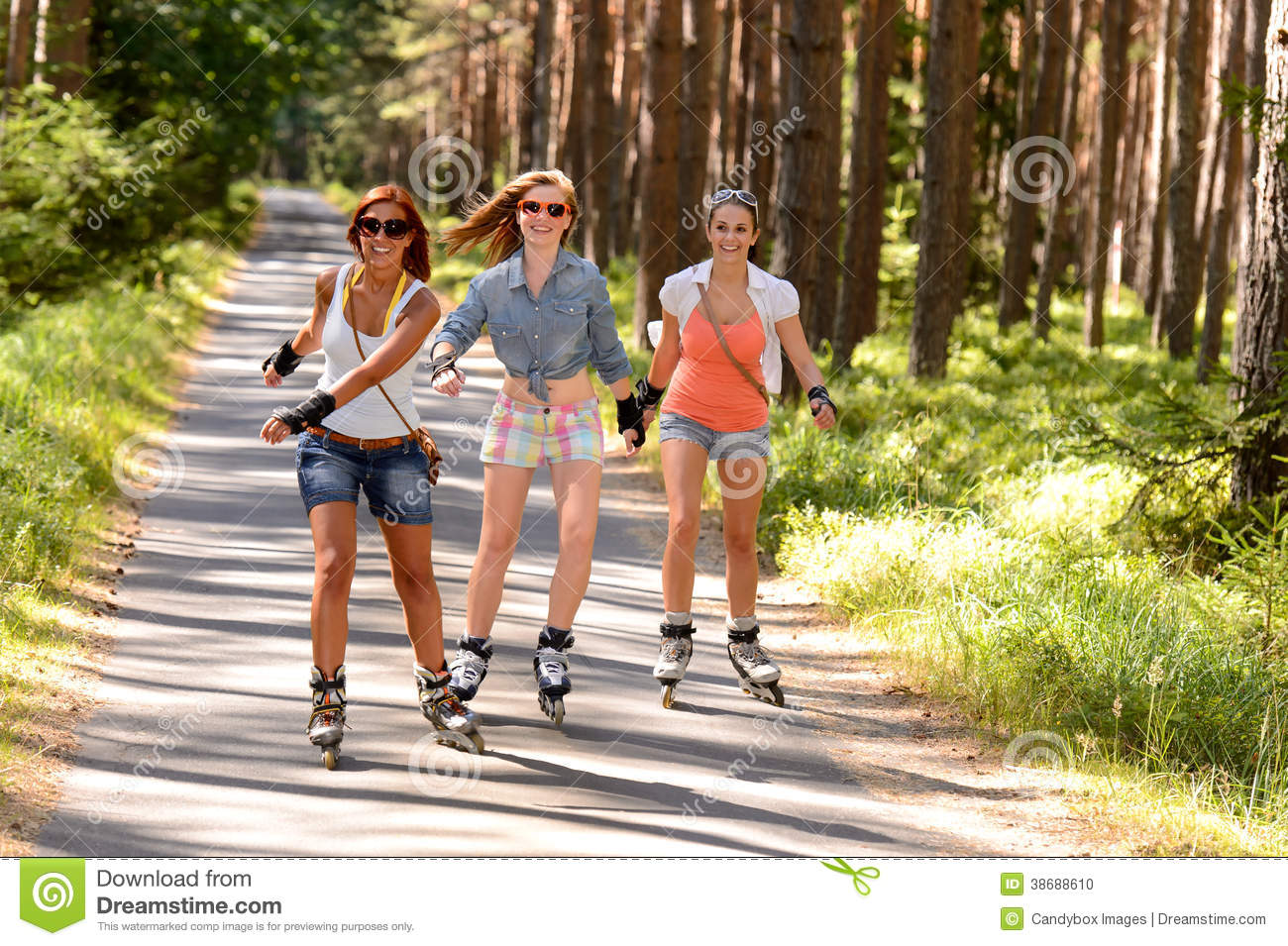 Roller skating babies - Three Friends On In Line Skates Outdoor