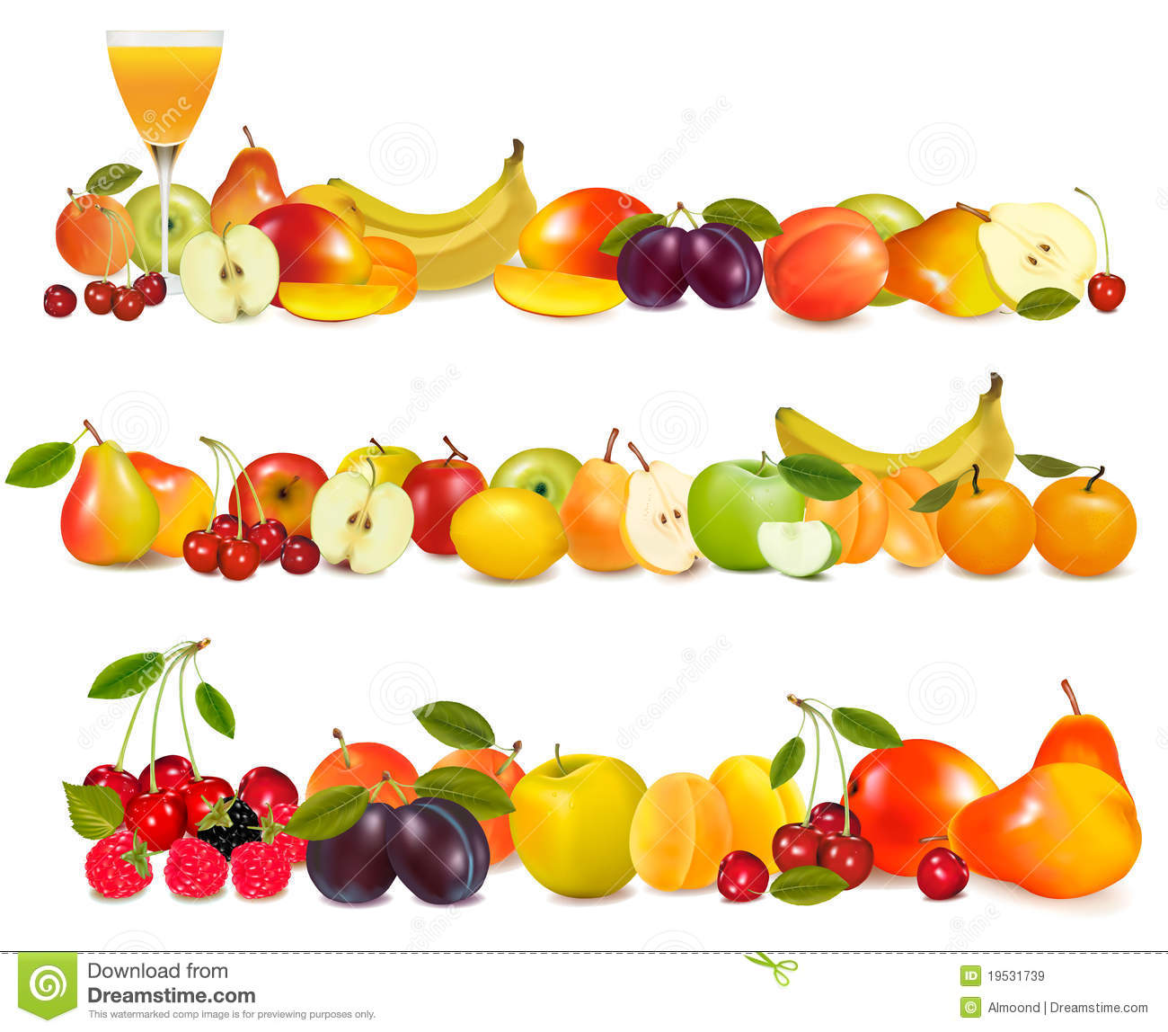 Royalty Free Stock Images: Three fruit design borders isolated on ...