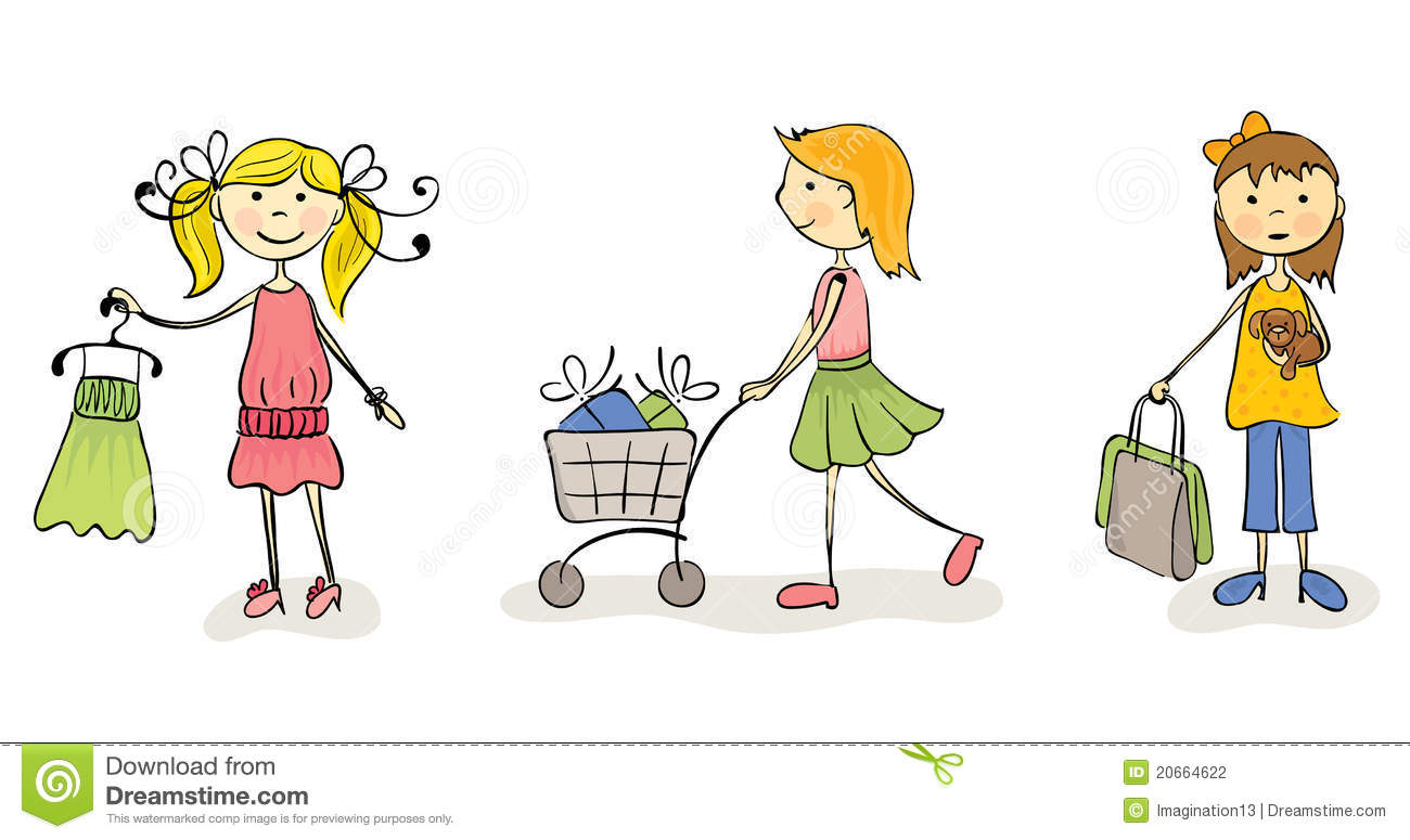 three fun girls go shopping stock photography   image