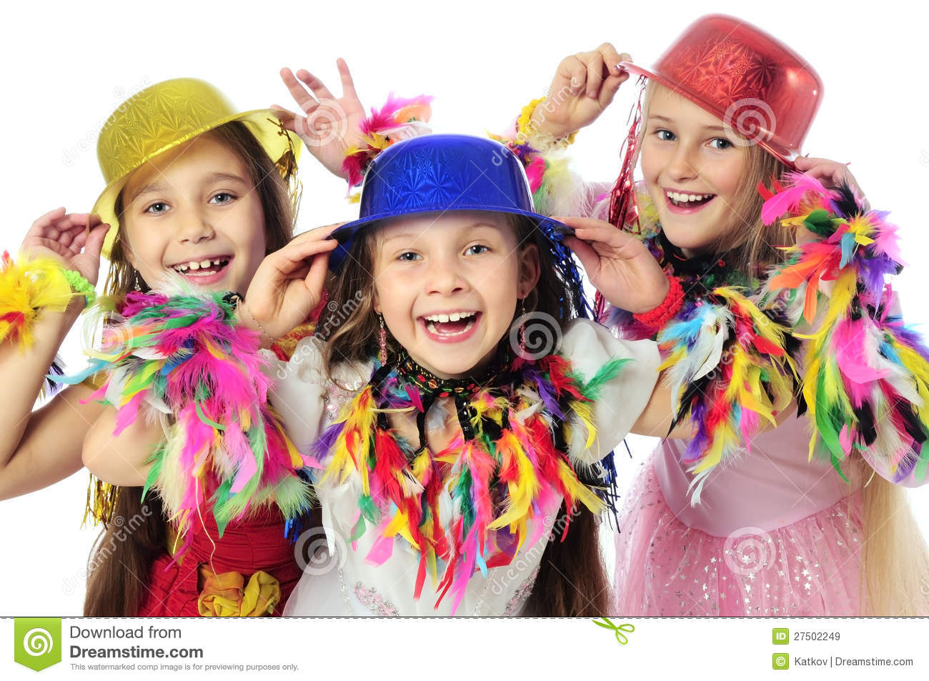 Three funny carnival kids stock image. Image of emotion ...